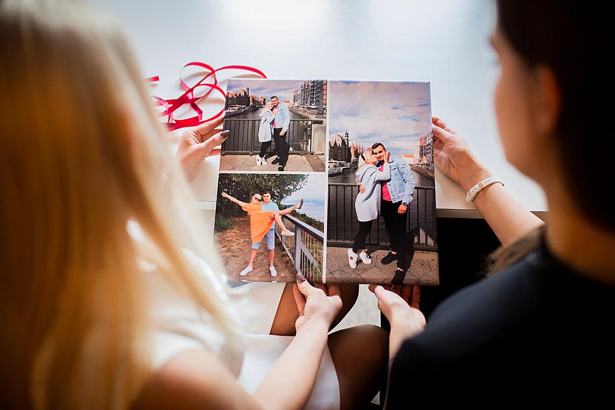 fotokolaż drukowany na płotnie prezentem ślubnym