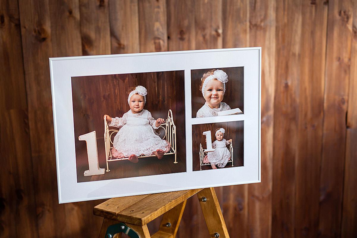 Fotokolaż obrazu dziecka jako metryczka