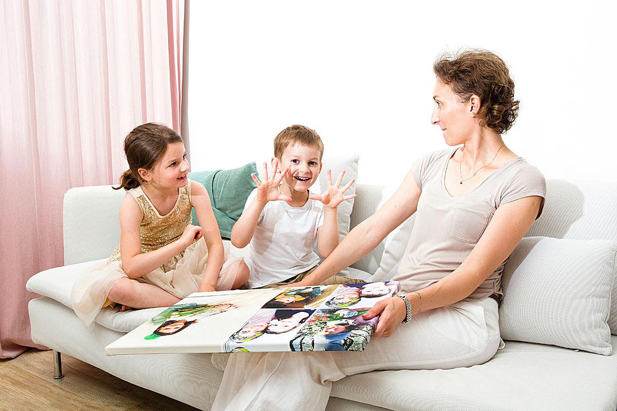 Mama z dziećmi zaskoczona wysoką jakością fotoobrazu