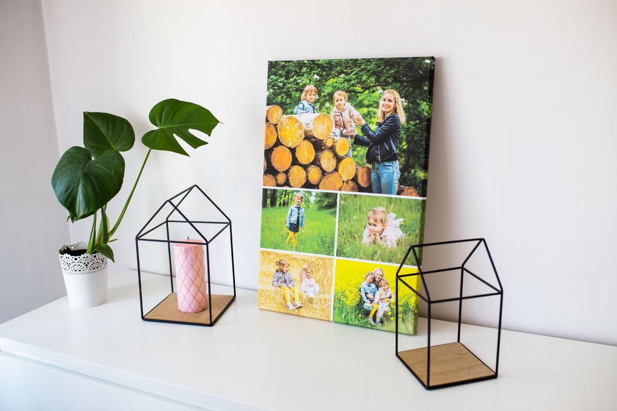 Fotokolaż jako rodzinna pamiątka prezentuje się na półce
