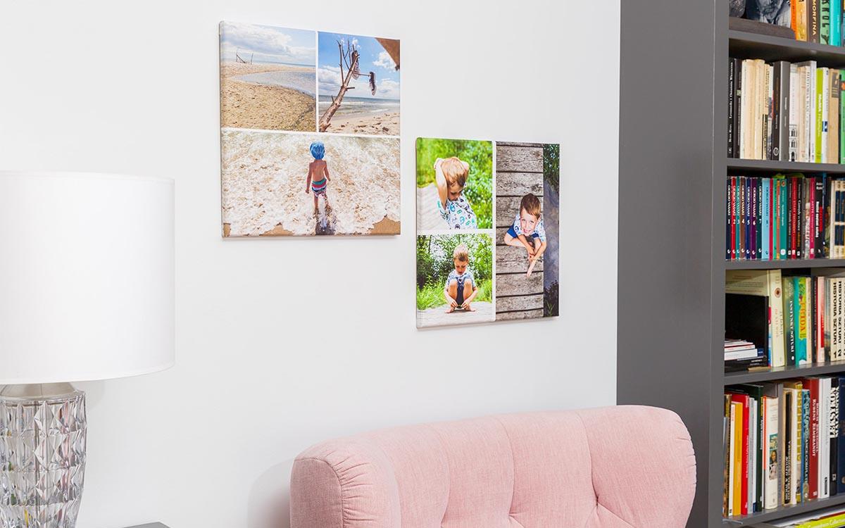 Fotoobraz na płótnie kolaż zdjęć na ścianie pokoju
