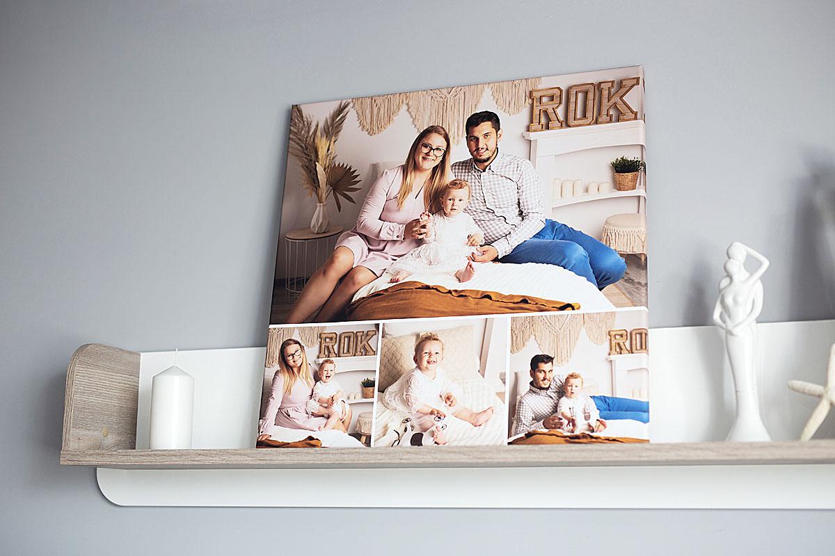 Kolaż zdjęć rodzinnych na półce