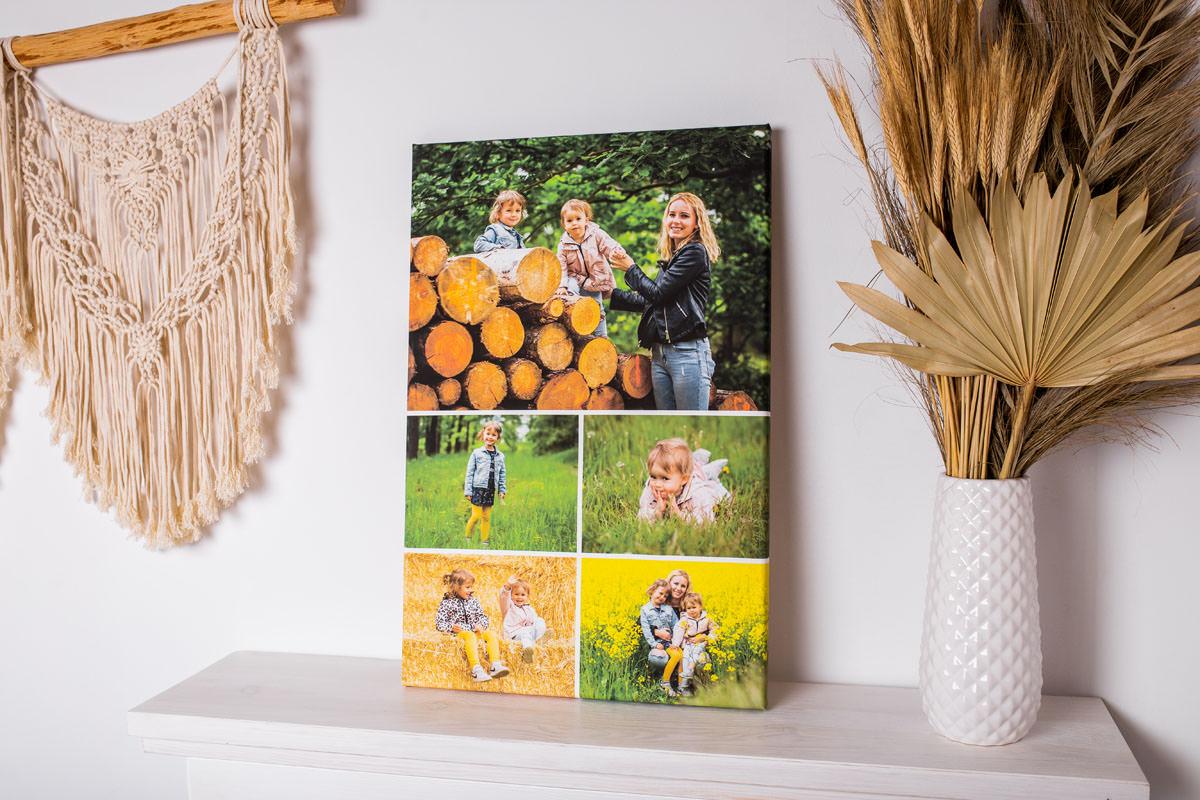 pamiątkowy obraz fotokolaż ze zdjęć matki z dziećmi